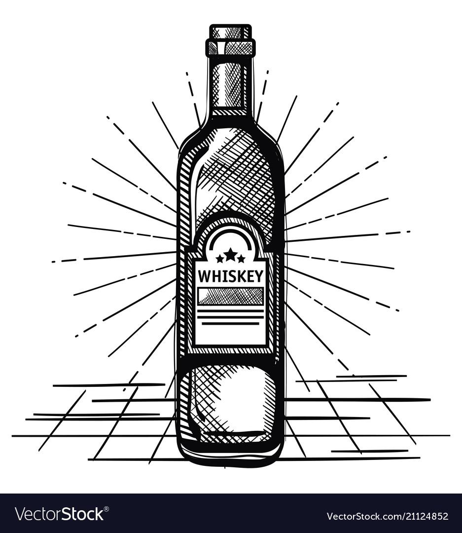 Best whiskey bottle drawn label vector image