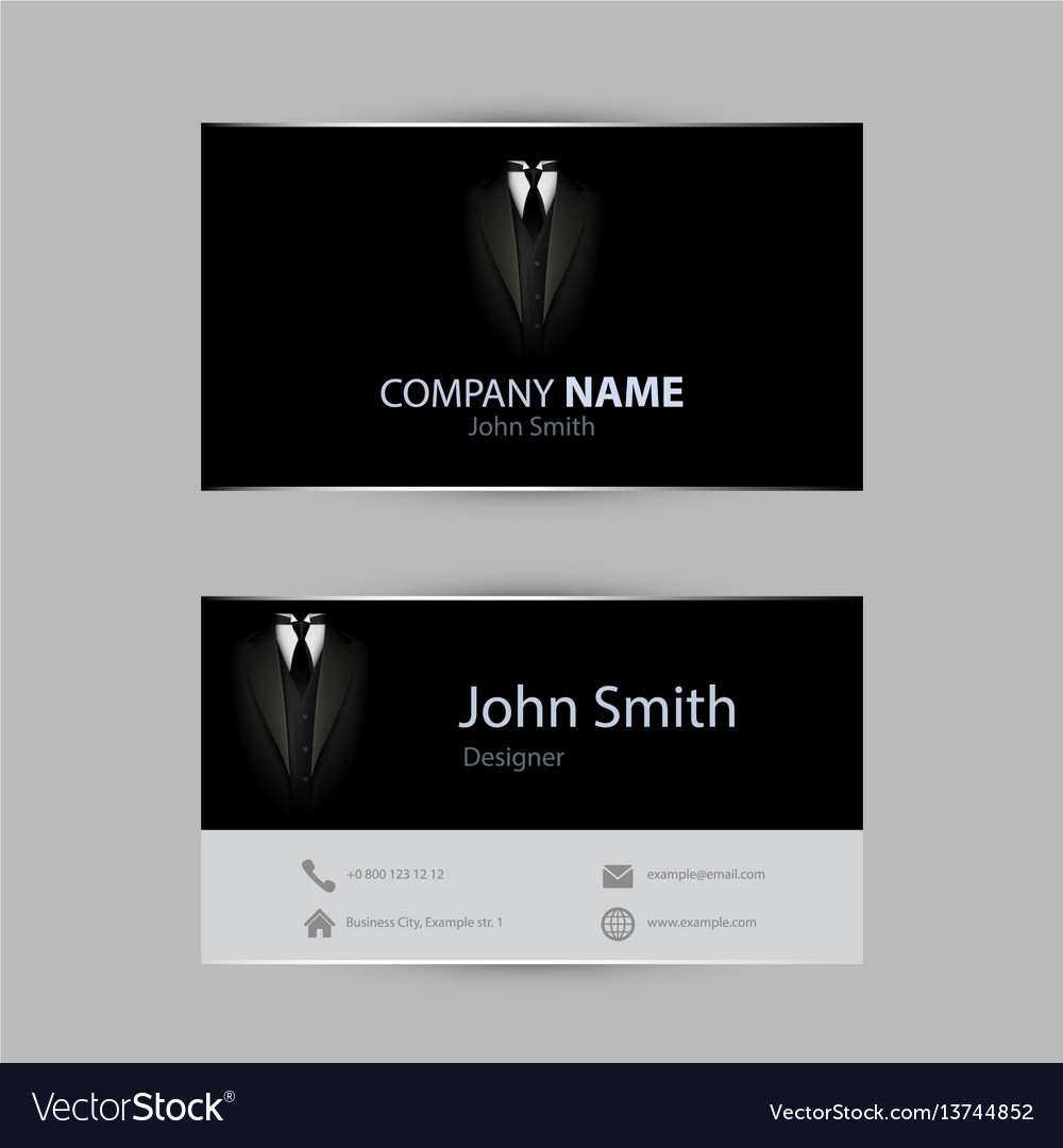 Black tuxedo business card royalty free vector image black tuxedo business card vector image reheart Images