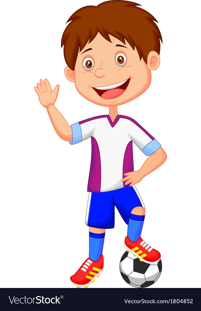 cartoon kid playing football royalty free vector image rh vectorstock com football cartoon pictures broken foot cartoon pics
