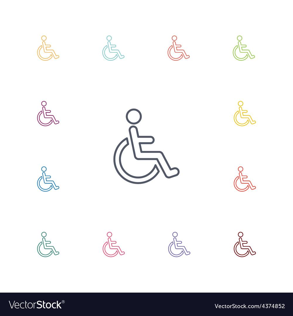 Cripple flat icons set