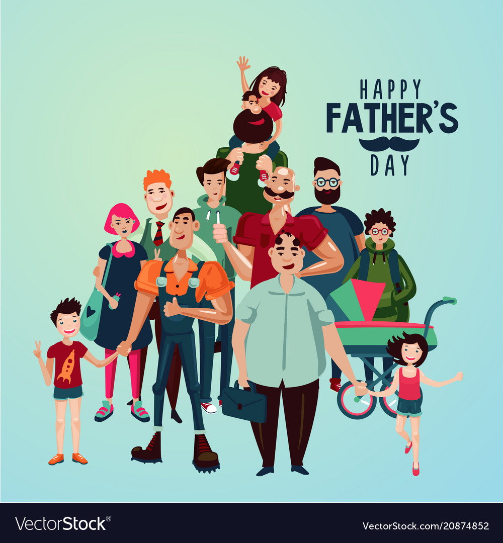 Fathers day cartoon with group of