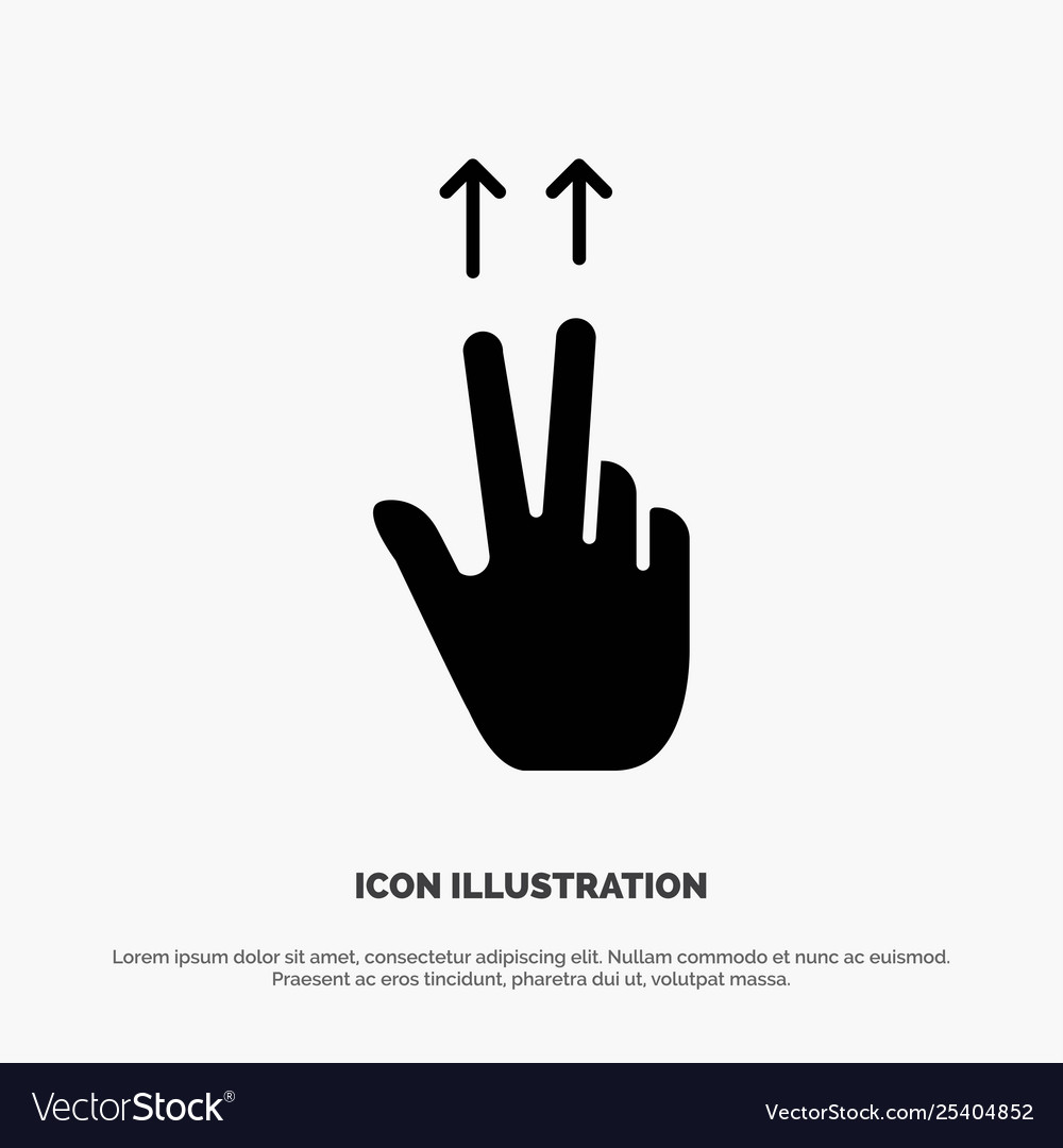 Fingers gesture ups solid glyph icon