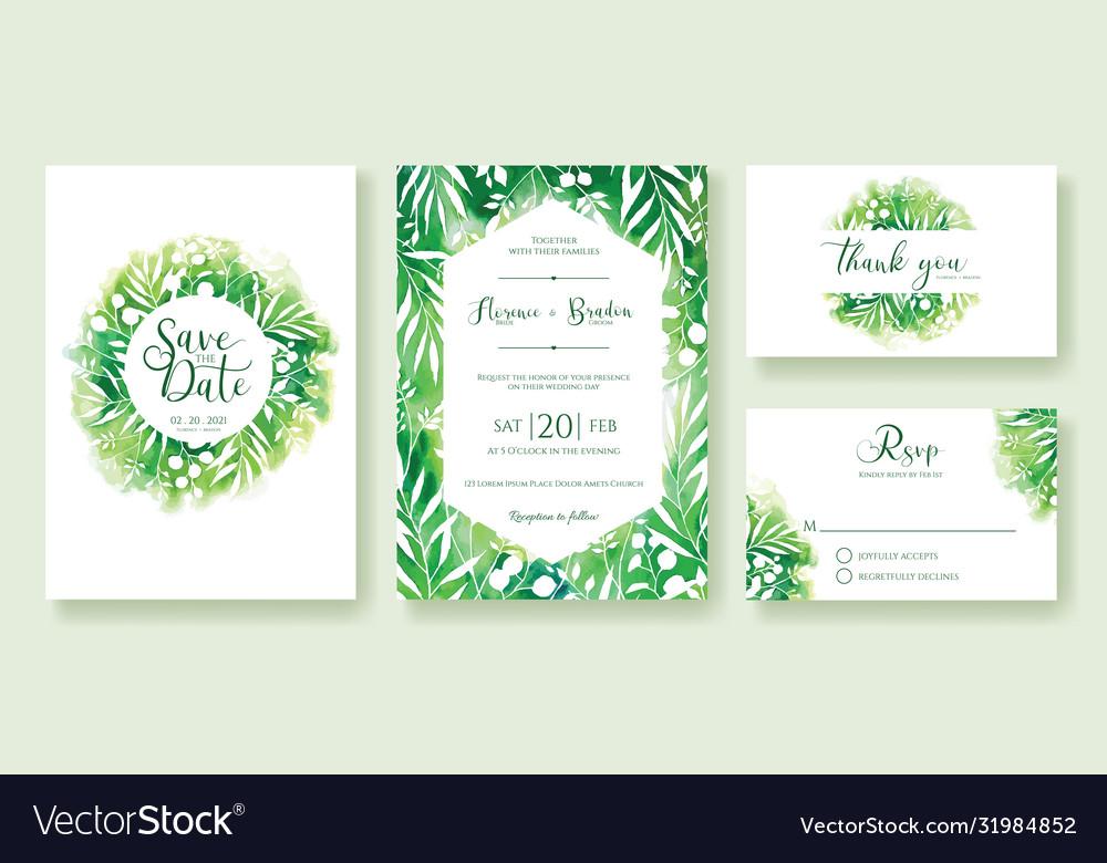 Green wedding invitation watercolour style
