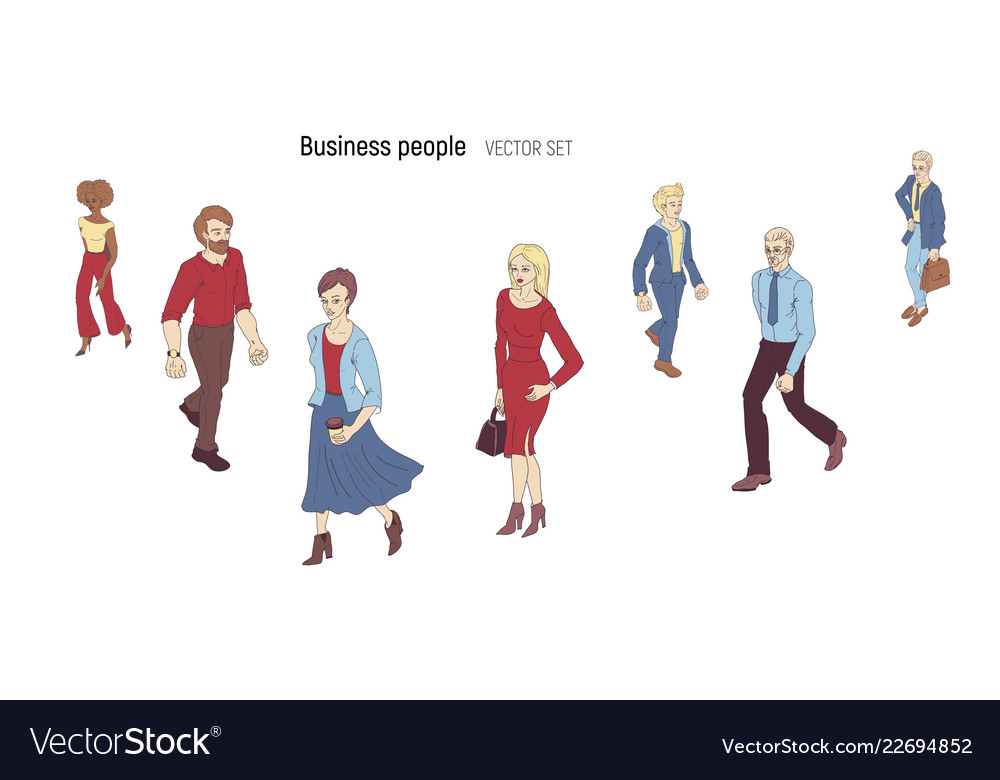 Group of people standing on white background