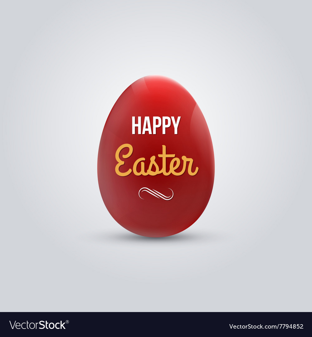 Happy easter realistic red egg isolated