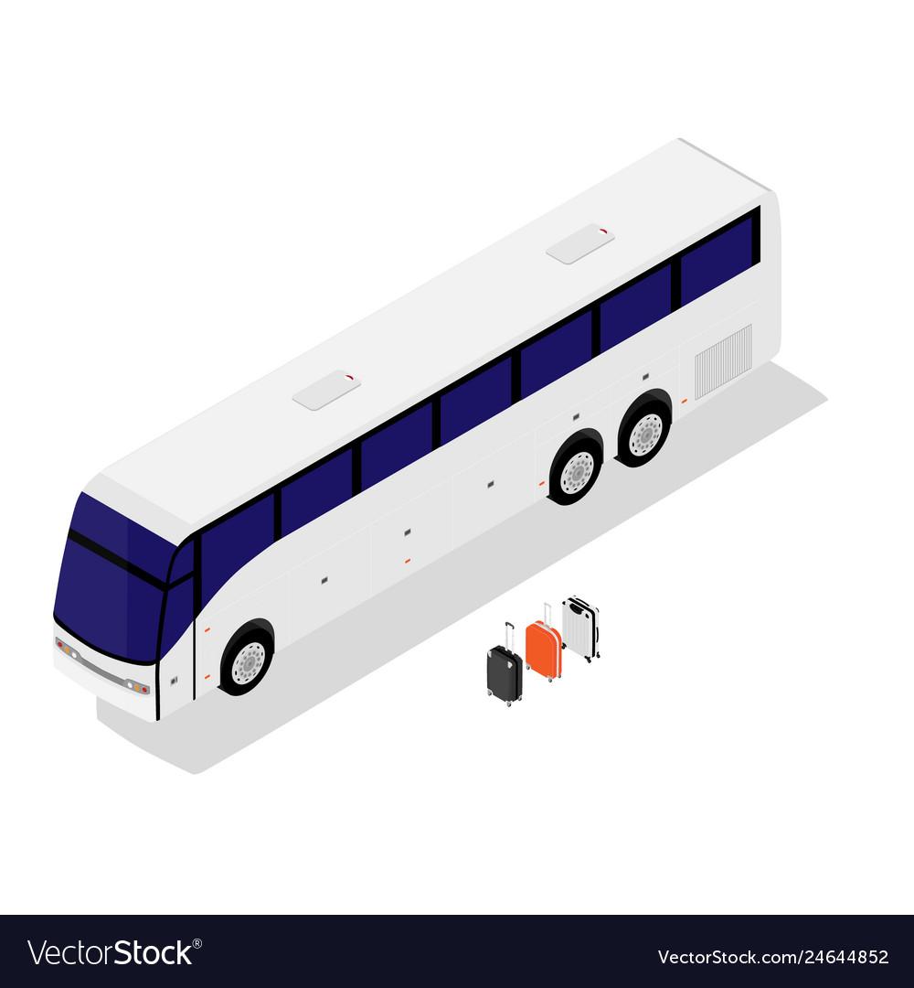Isometric white bus isolated on white background