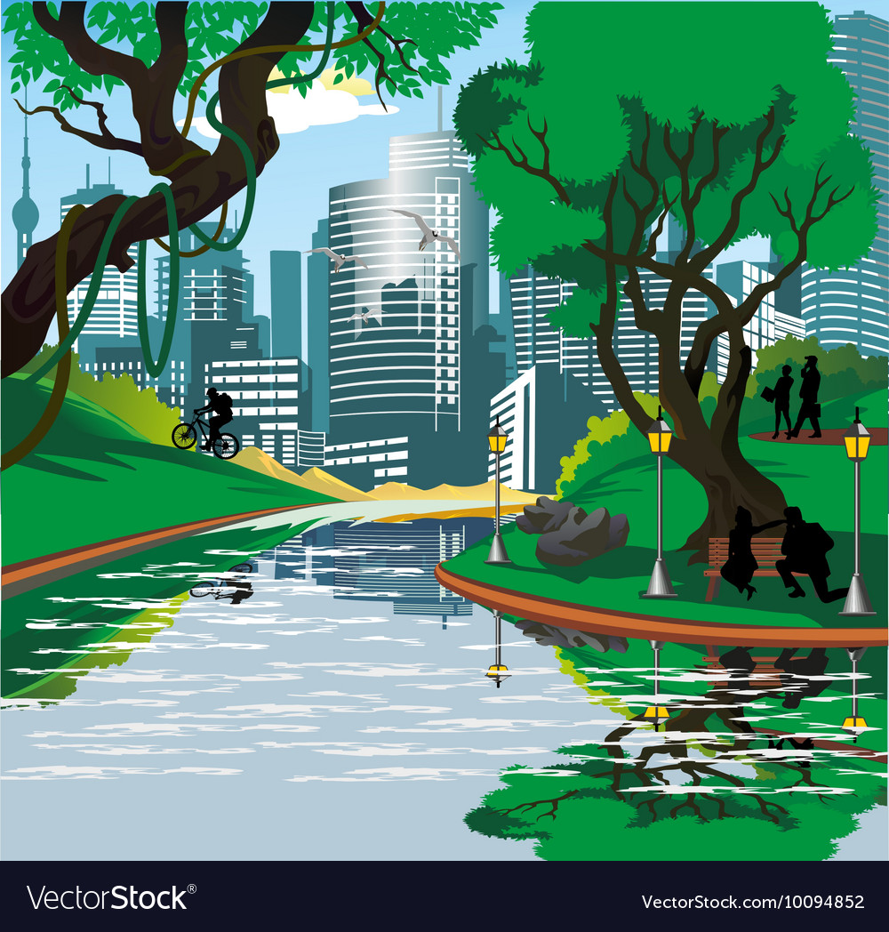 Landscape - the townspeople near the river in the