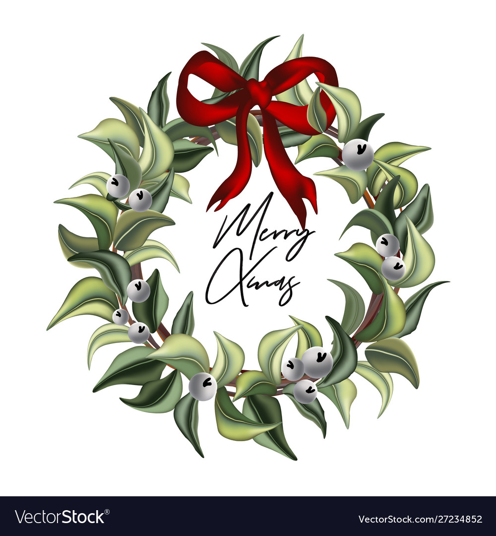 Merry christmas hand-drawn watercolor leaves of