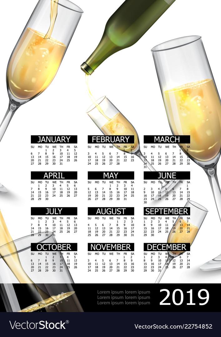 Premium alcholol 2019 year calendar poster