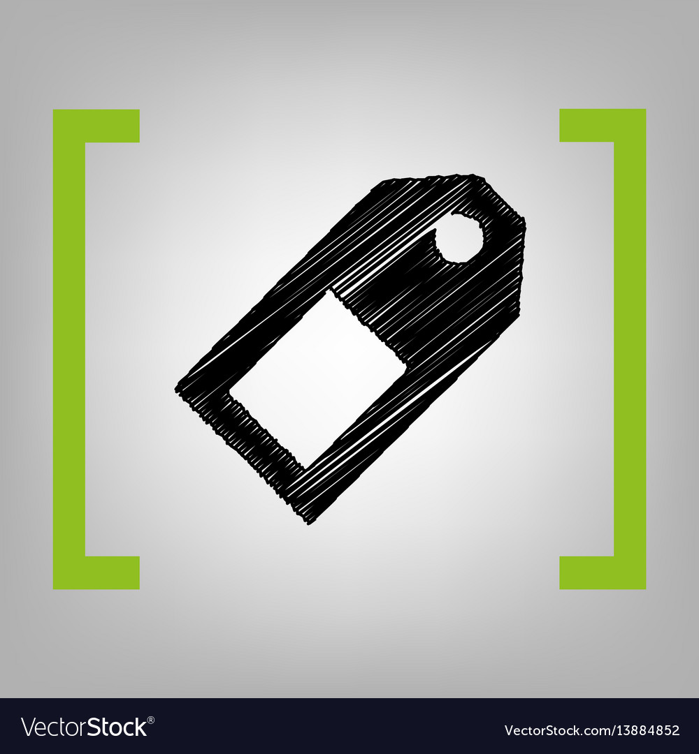 Price tag sign black scribble icon in vector image