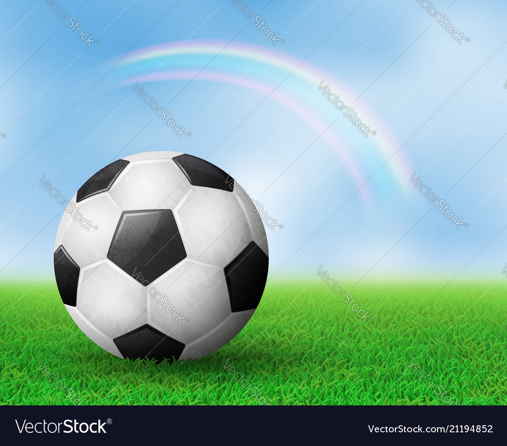 Realistic soccer ball on field from side view