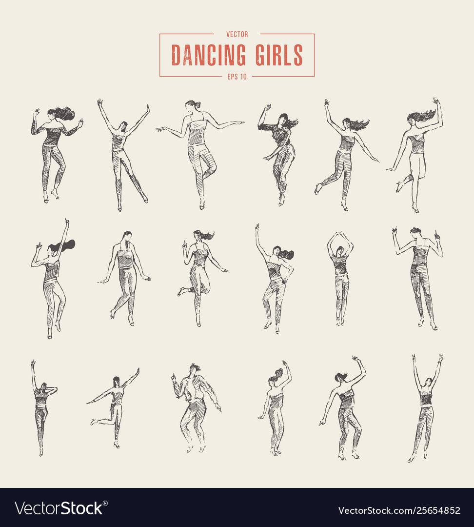 Set dancing gils drawn sketch