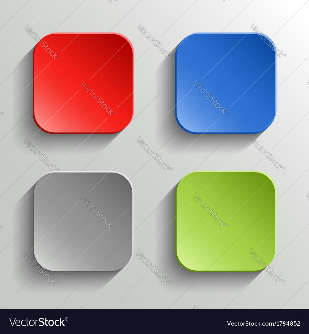 Set of Colorful Buttons with Shadow on White