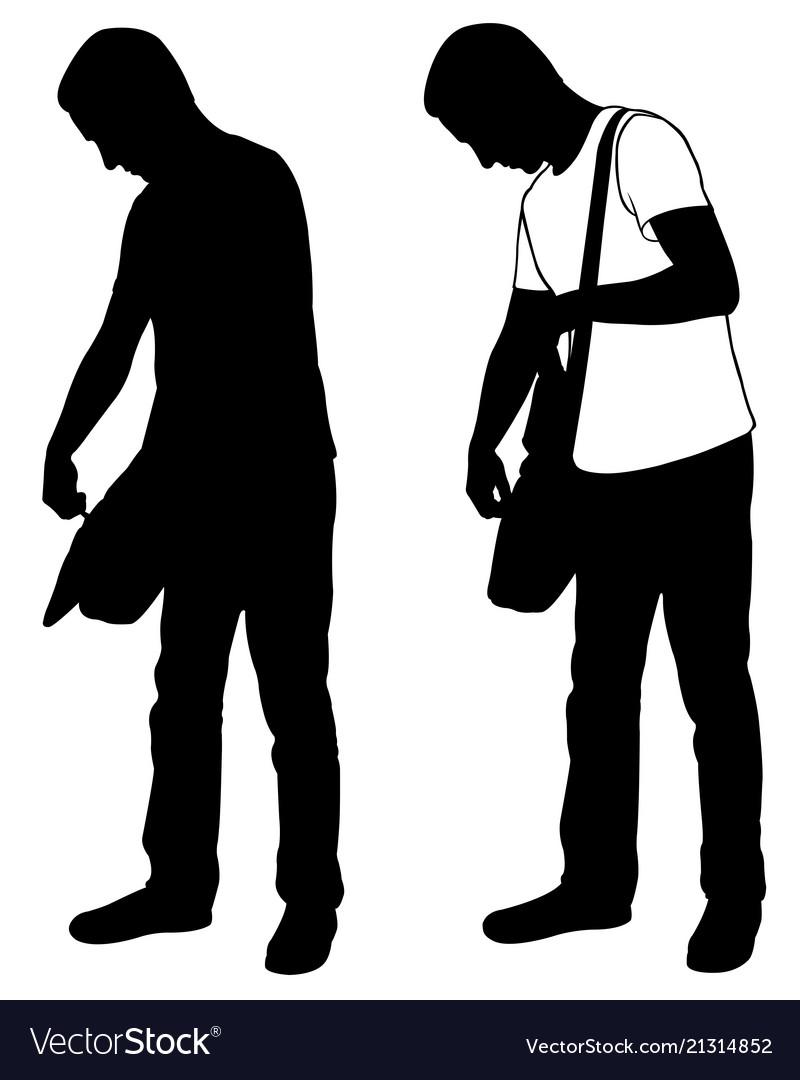 Silhouettes of men checking bag
