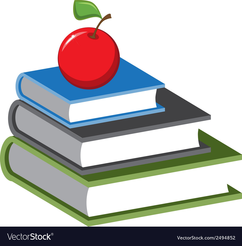 stack of books and an apple cartoon royalty free vector