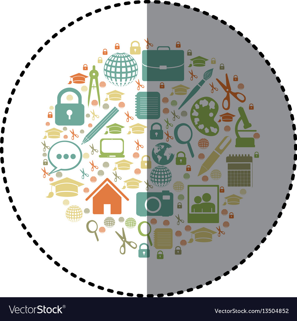 Sticker colorful circular shape with academic vector image