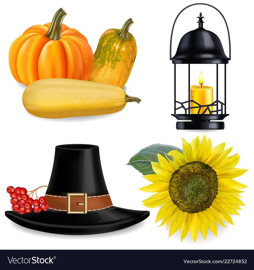 Thanksgiving set realistic pumpkins and