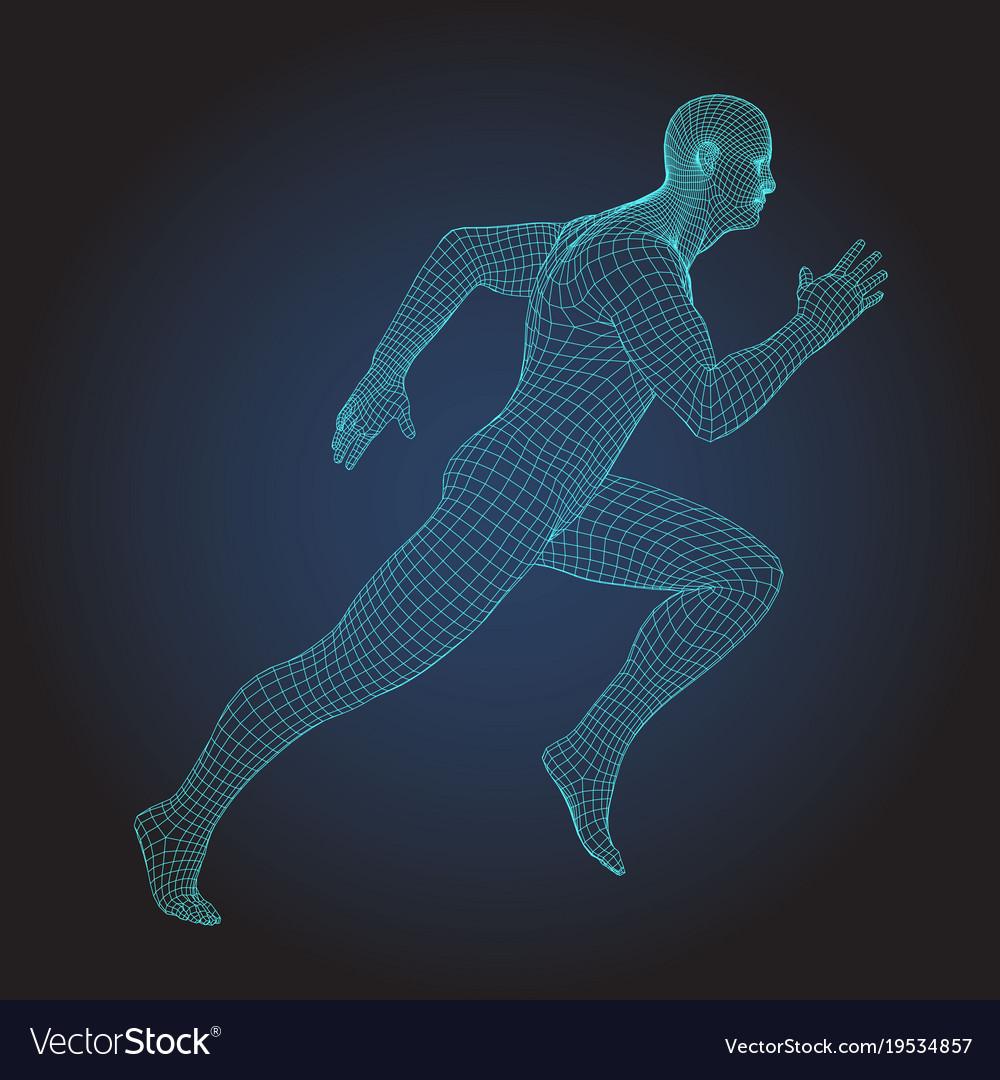 3d wire frame human body sprinter running figure
