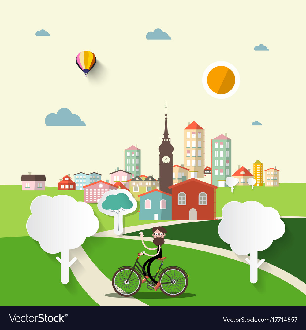 Abstract flat design city with man on bicycle