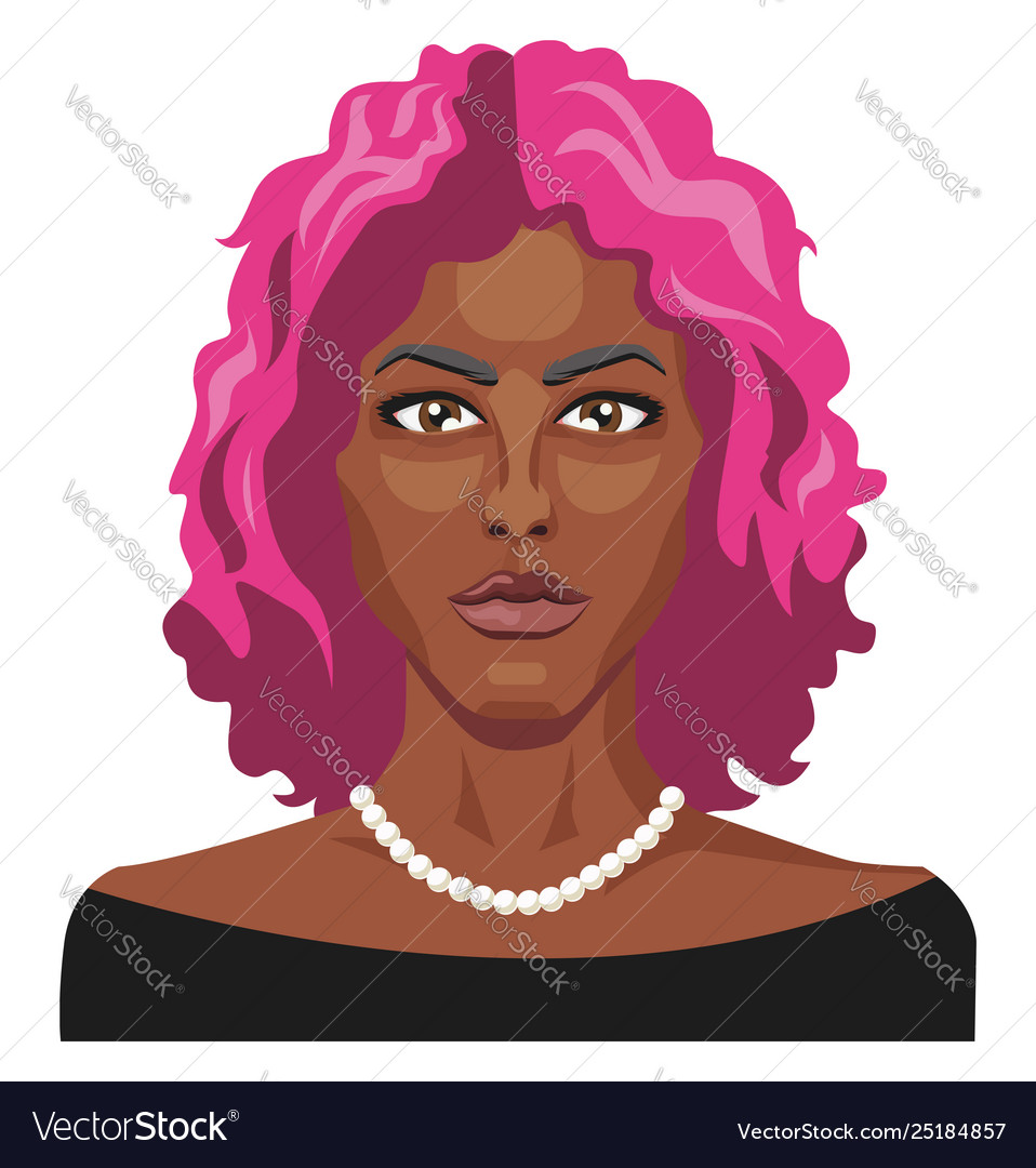 African girl with pink hair on white background