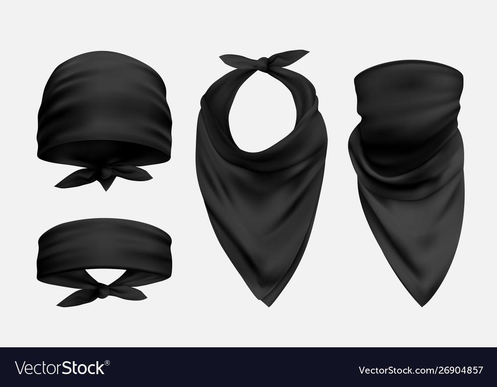 Black bandana realistic set isolated