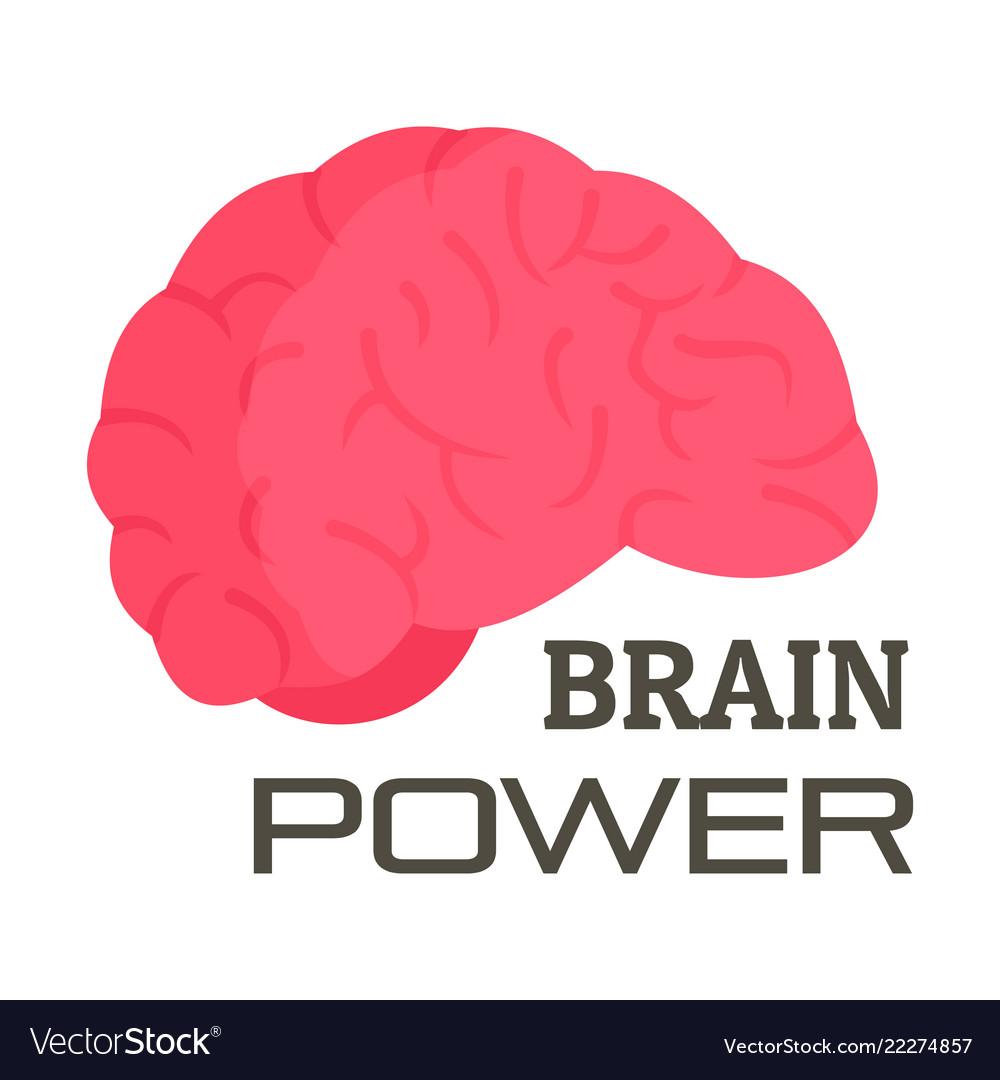 Brain power logo flat style