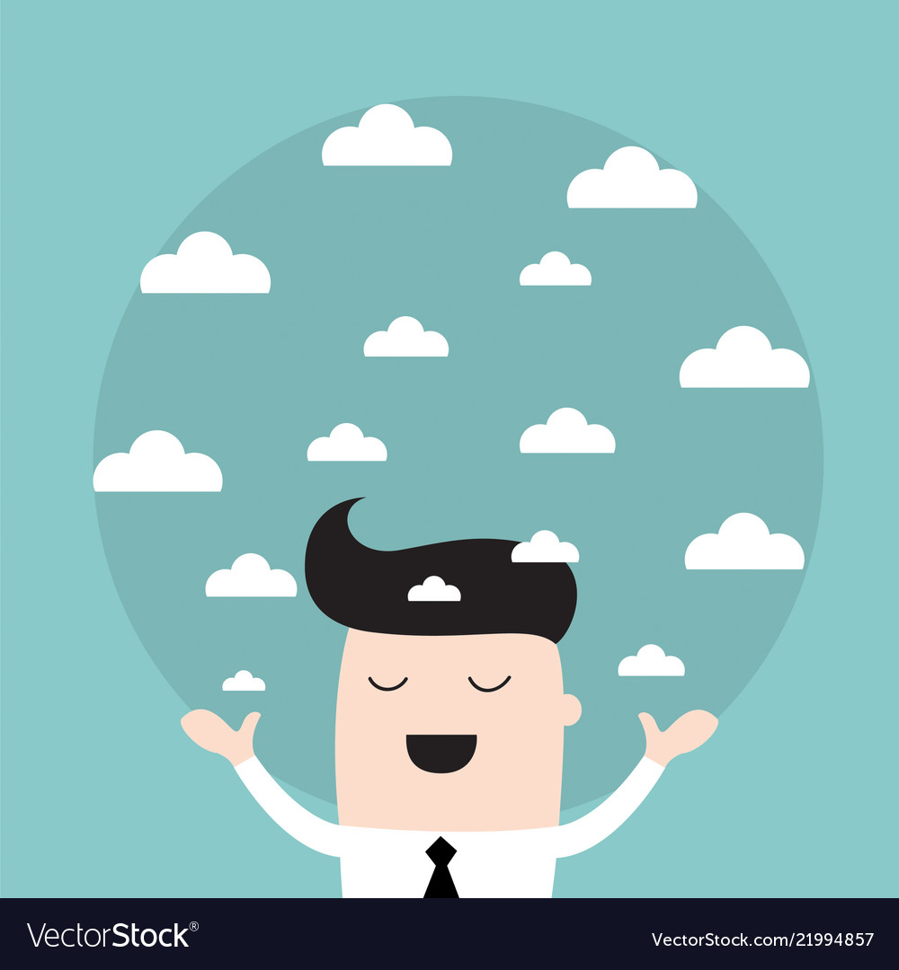 Businessman holding a sky with the clouds needs a