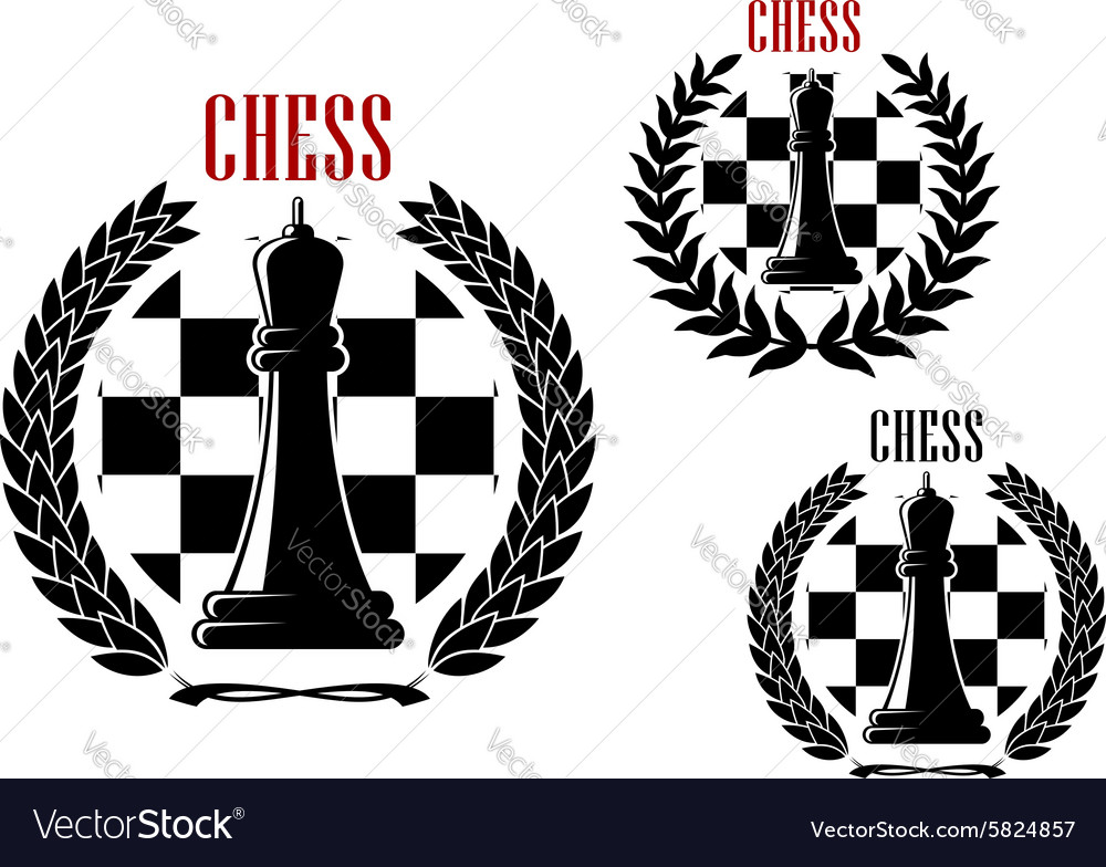 Chess icons with black queens vector image