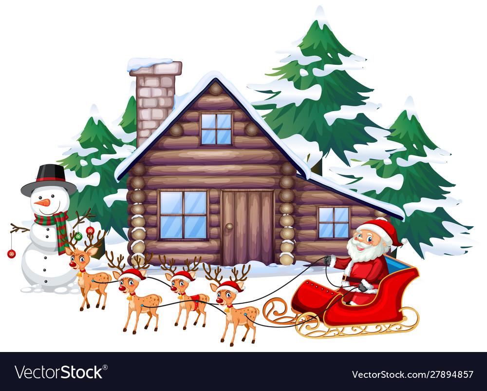 santa on sleigh Royalty Free Vector