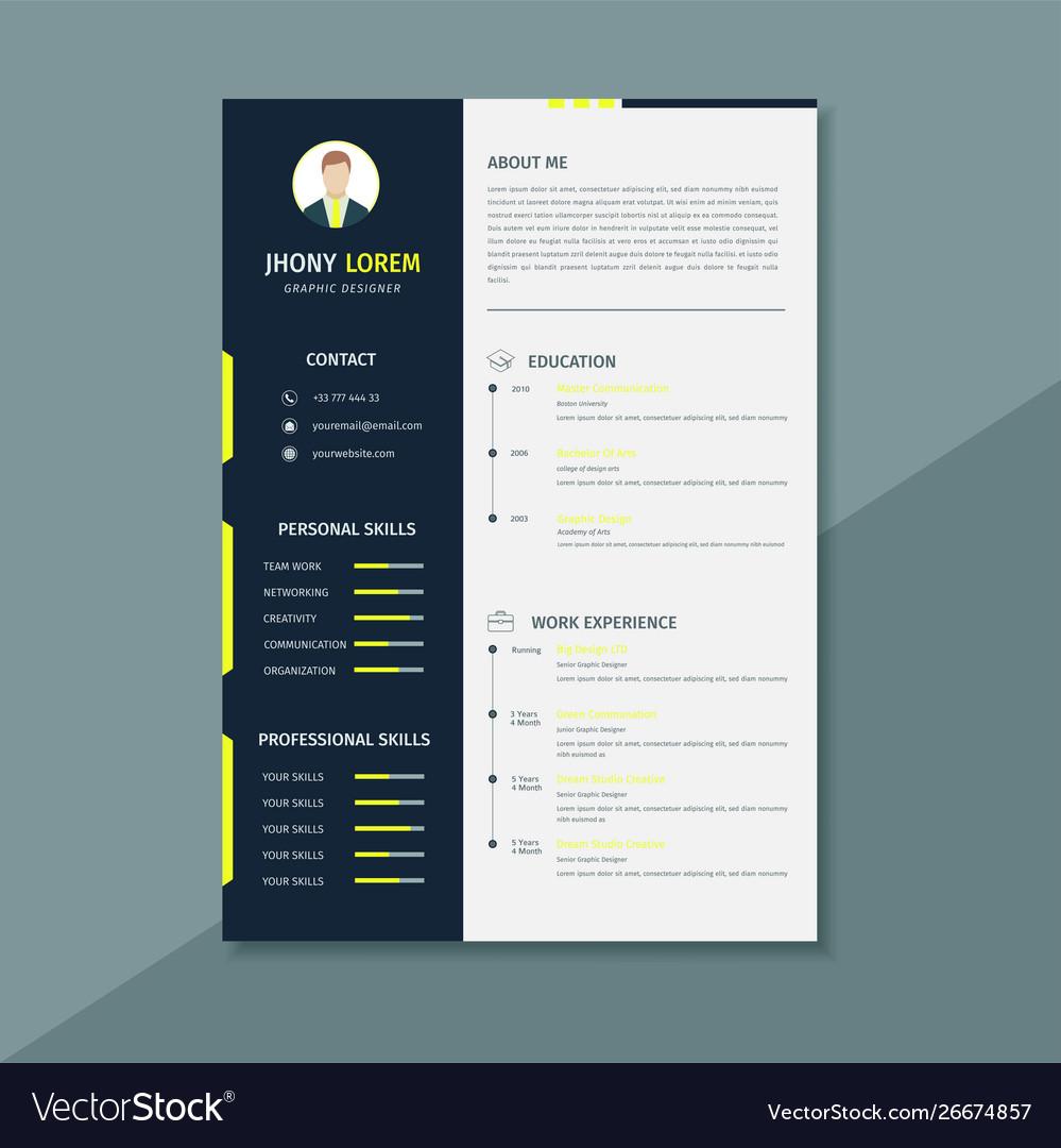 Creative Design Resume Template Or Cv Template Vector Image