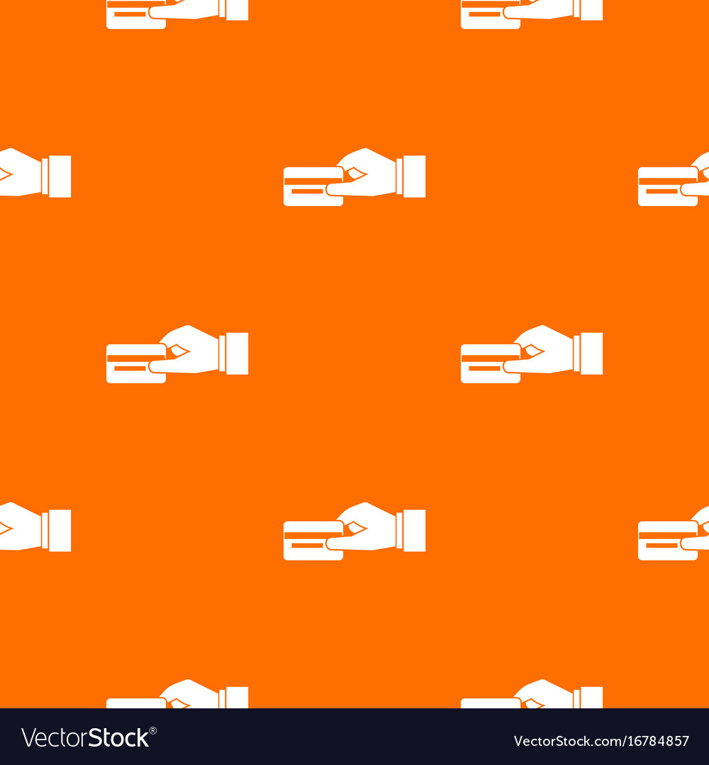 Hand holding a credit card pattern seamless