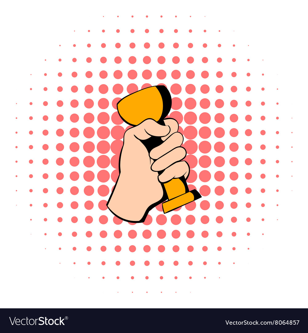 Hand holding trophy cup icon comics style