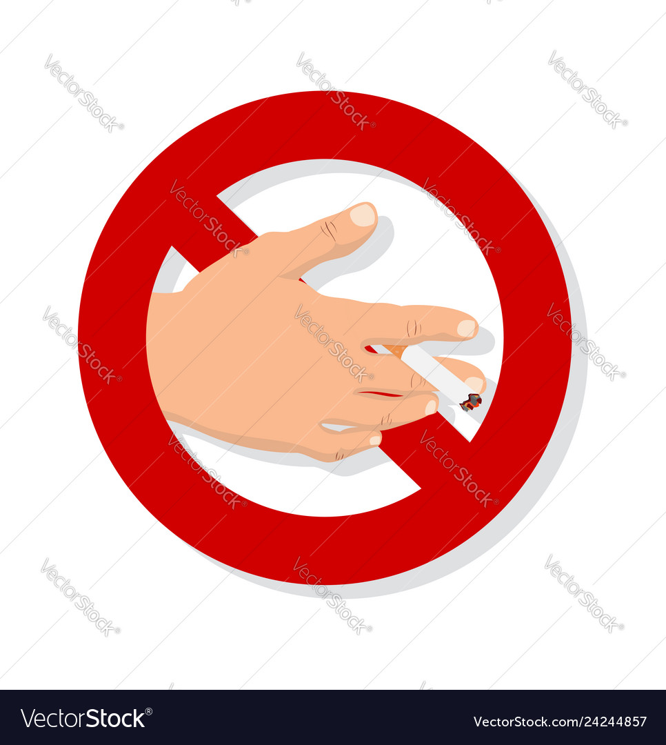 Hand with cigarette no smoking sign