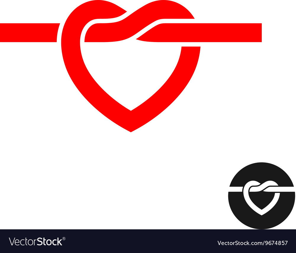 Heart knot silhouette logo Simple red heart rope