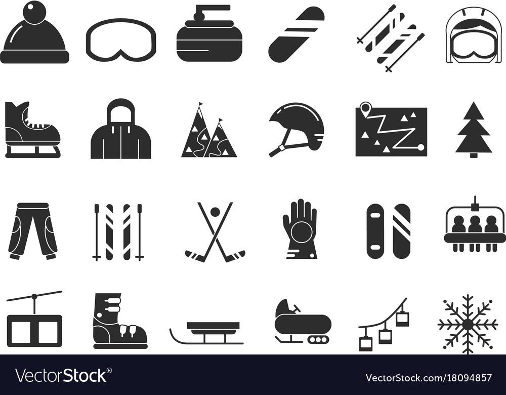 Monochrome icon set of winter sport black
