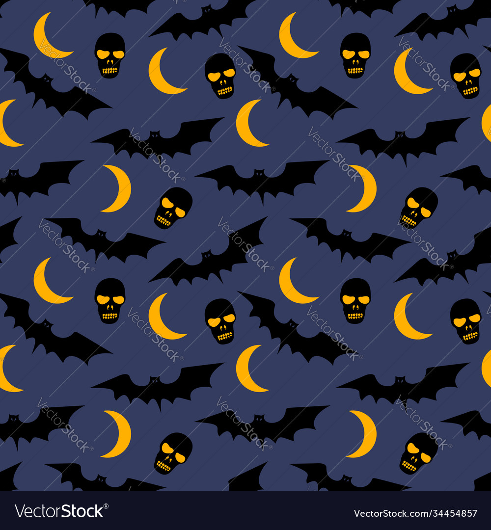 Seamless pattern with bats moons skulls and trees