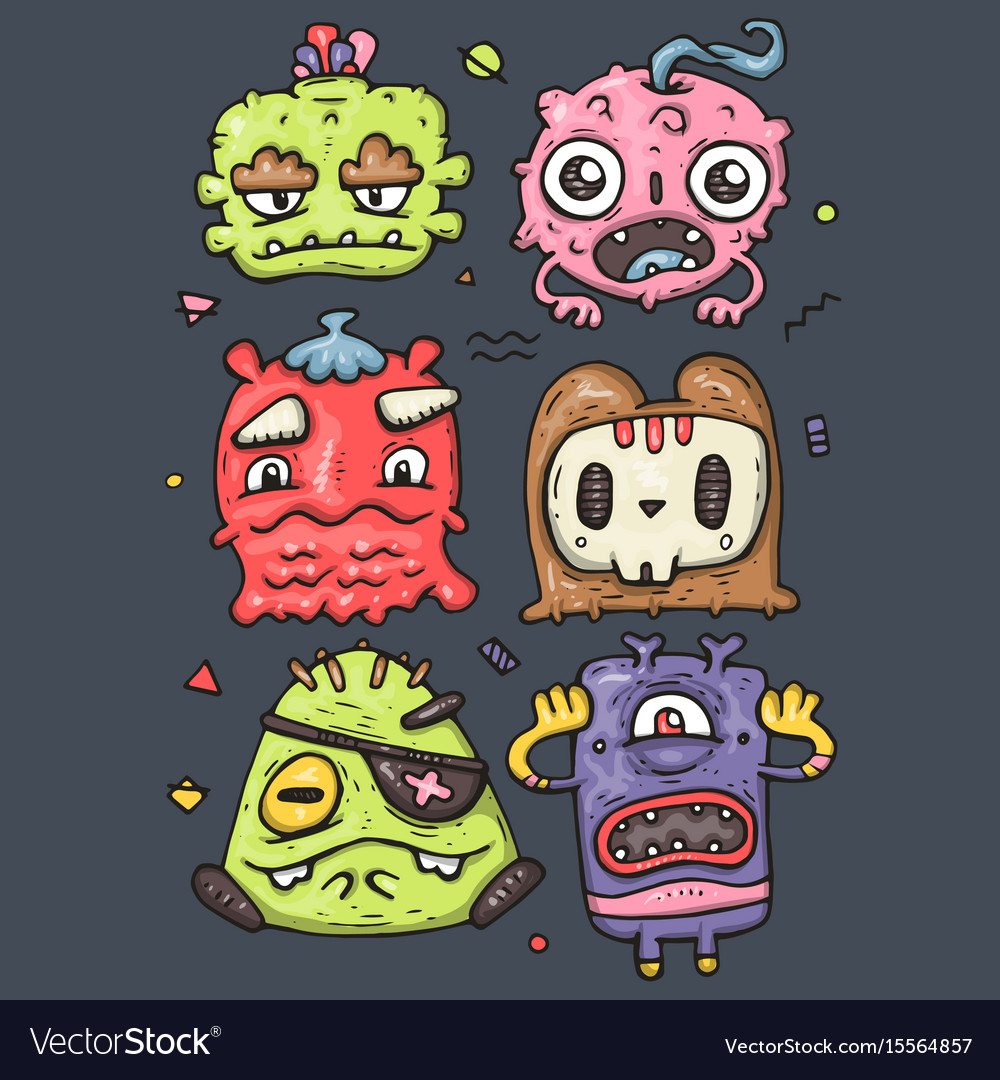 Set of cute monsters vector image