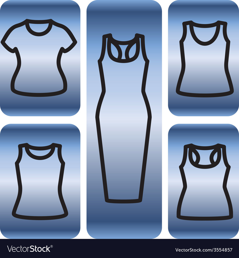 Set of t-shirts and dress icon