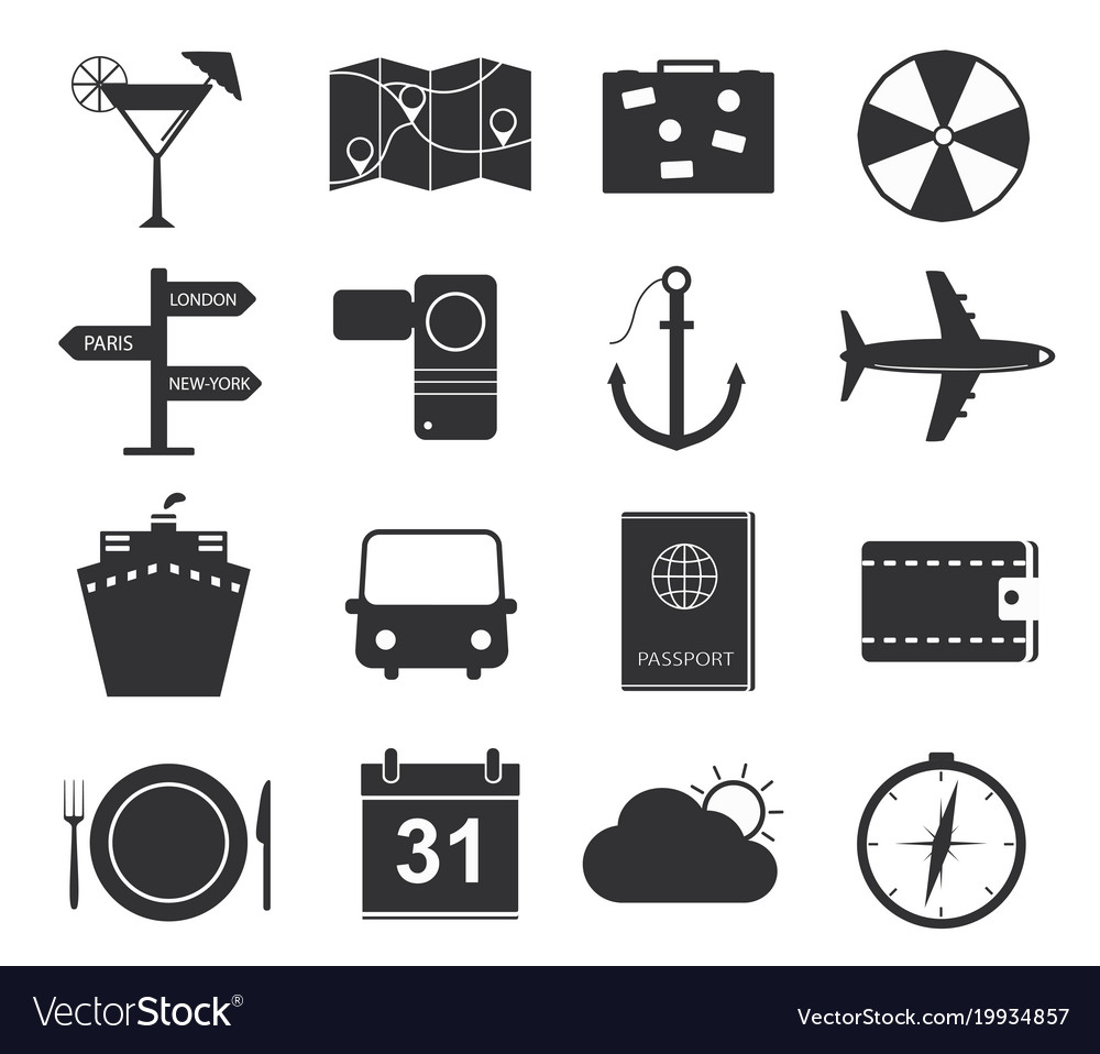 Travel icons set of black icons tourism