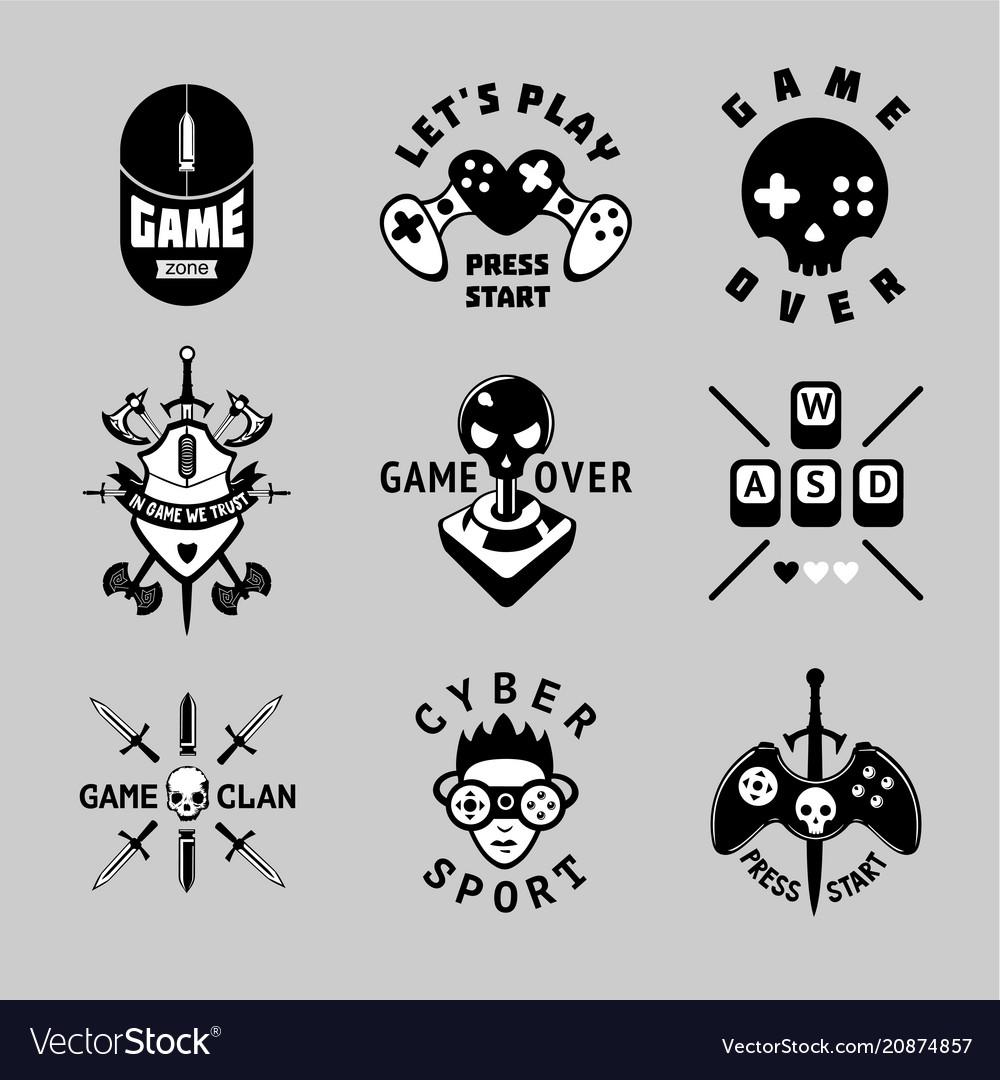 Video games vintage emblem set retro style vector image