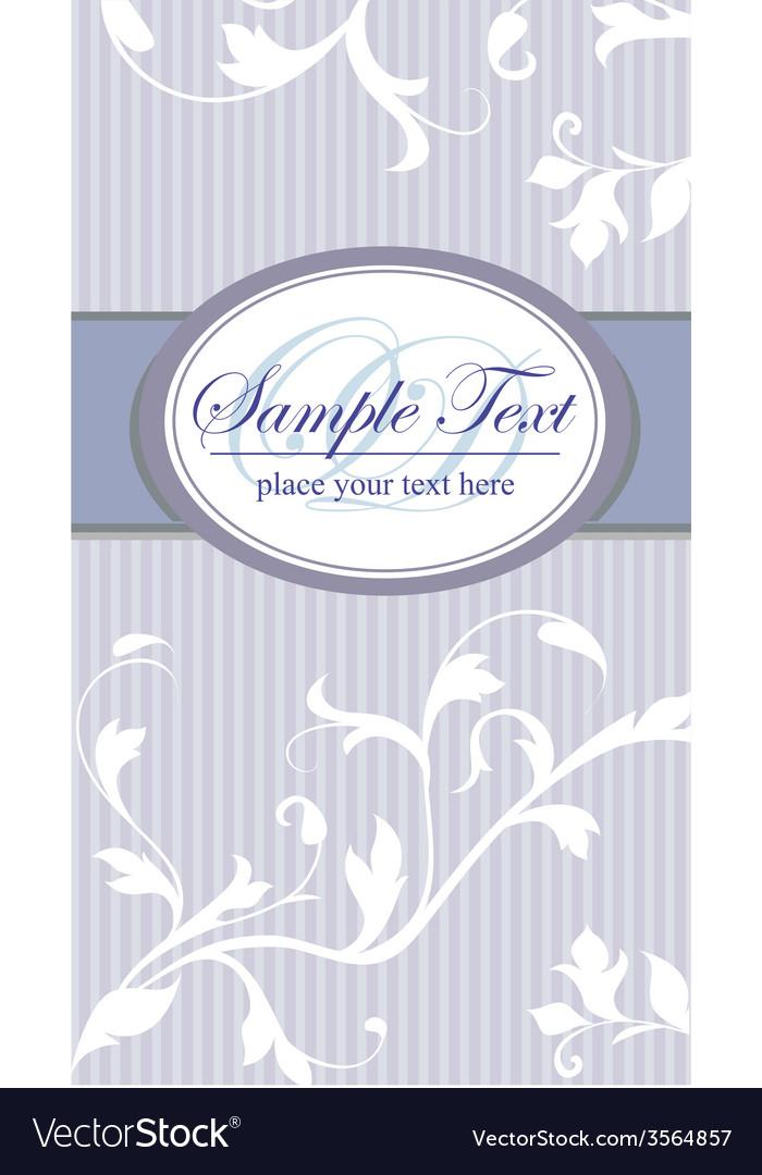 Vintage frame on blue seamless floral background vector image