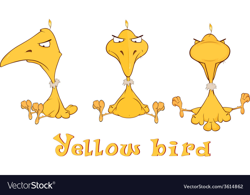 A set of yellow birdies cartoon