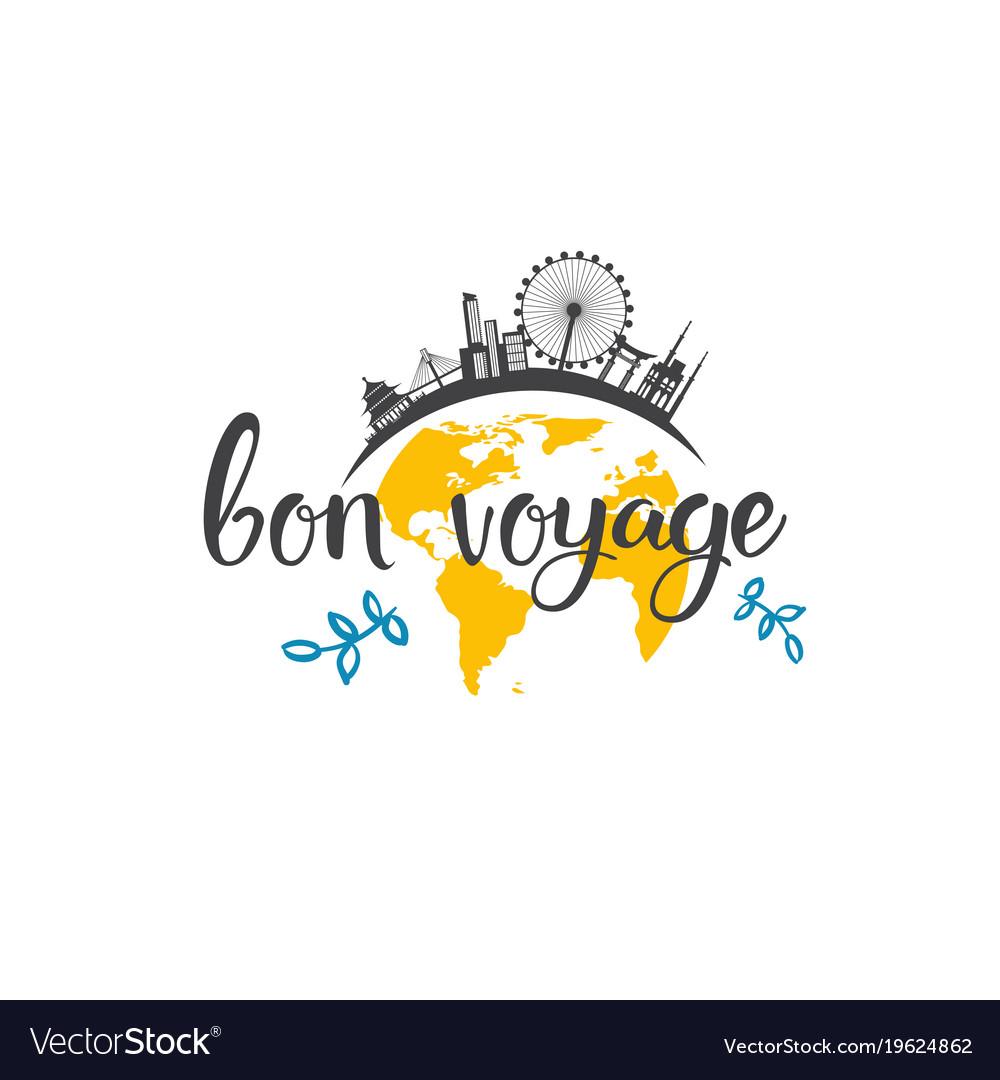 Bon voyage travel icon hand dr...
