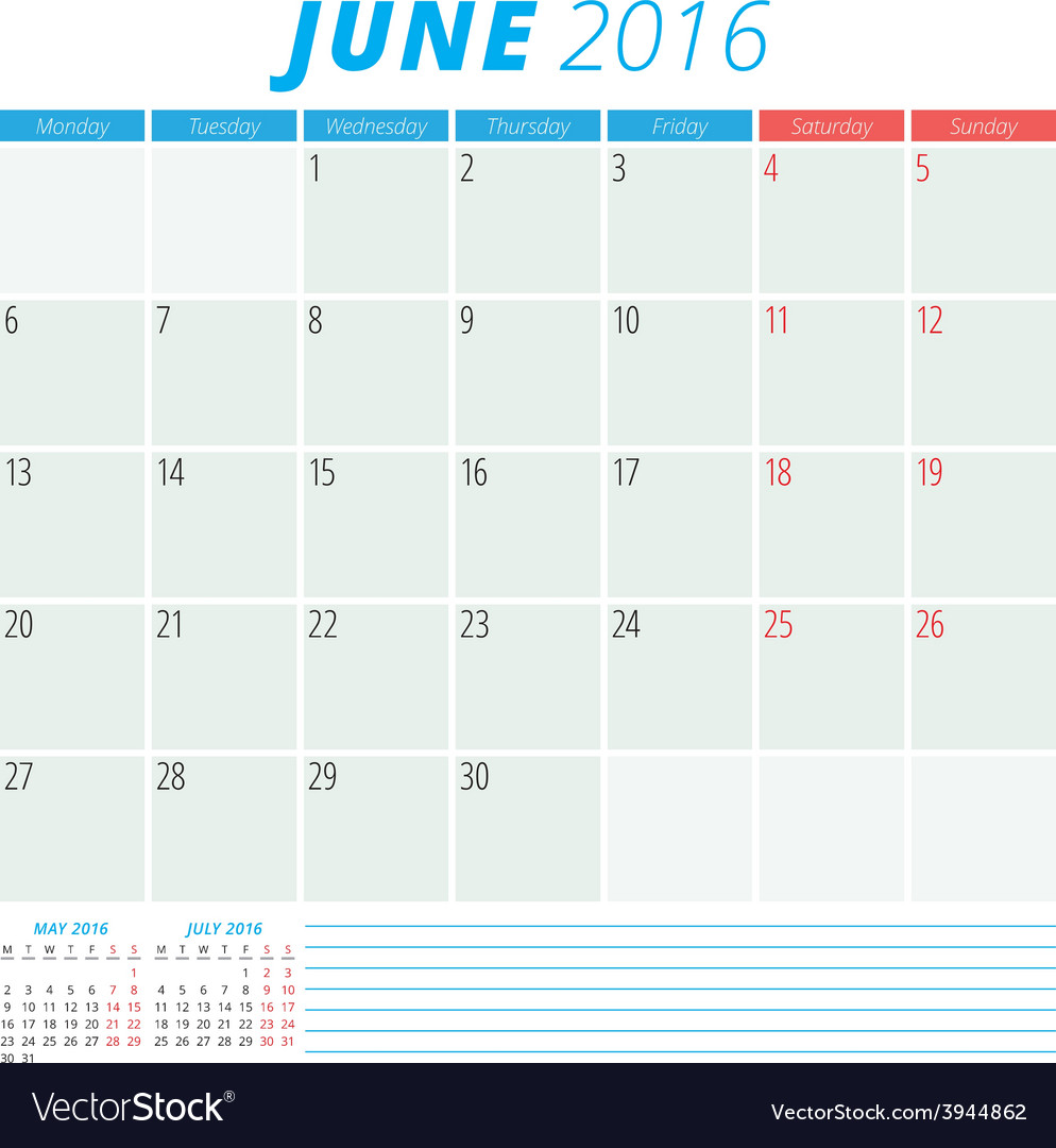 Calendar 2016 Flat Design Template June Week