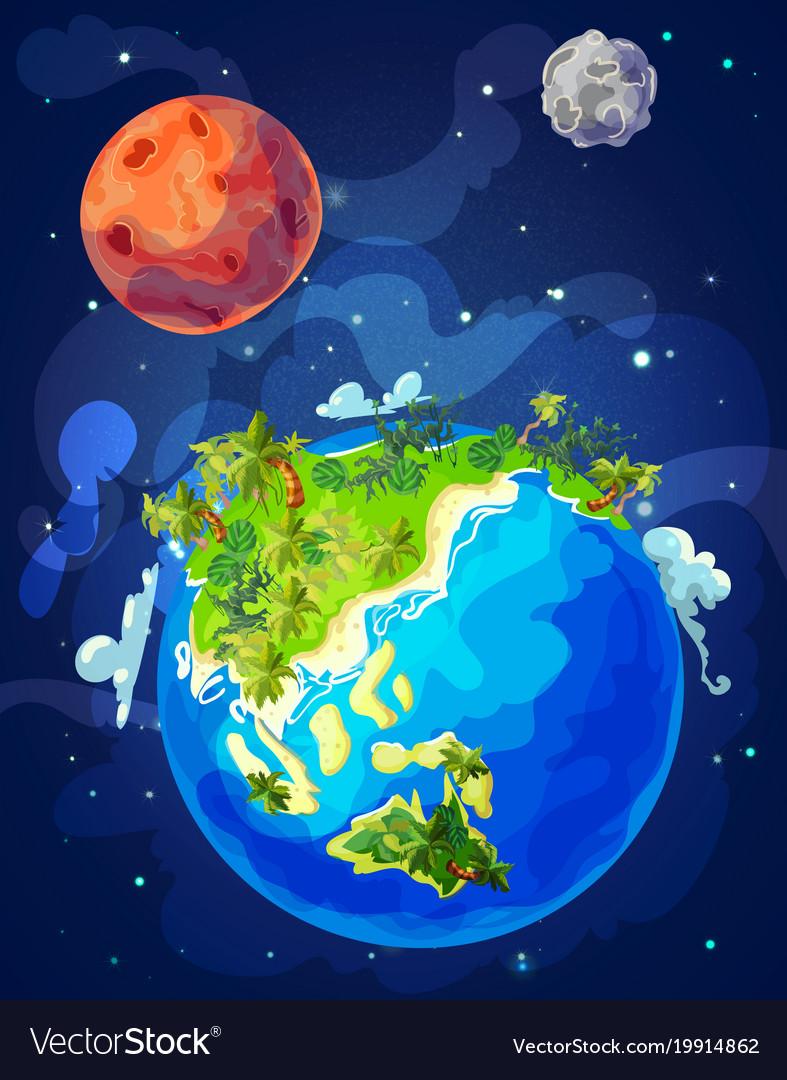 Cartoon natural earth globe template
