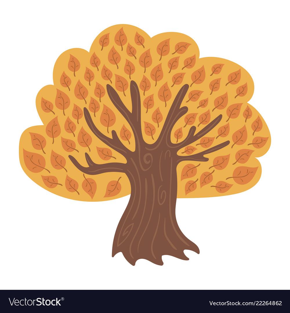 Cartoon tree in autumn child a
