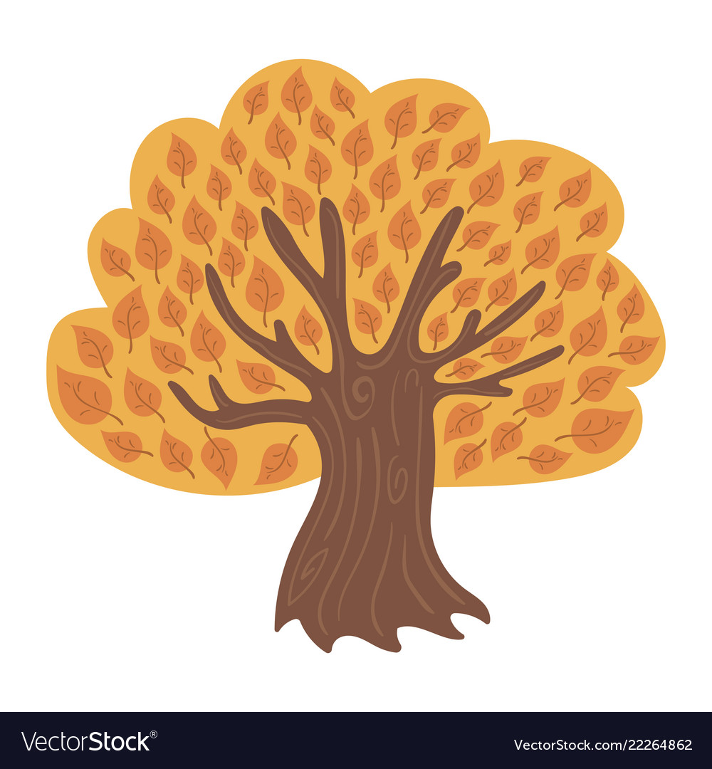 Cartoon tree in autumn child of a