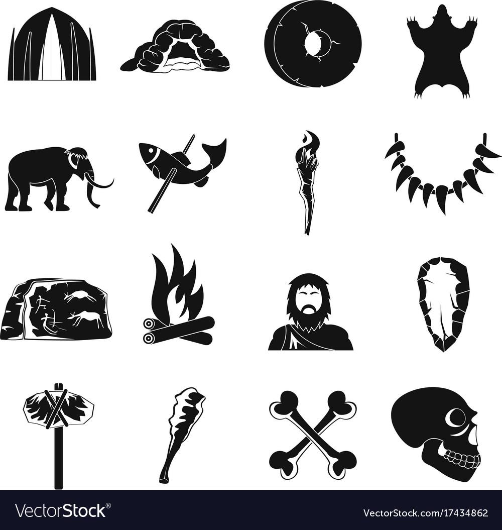 Caveman icons set simple style