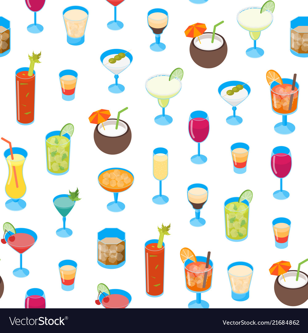 Cocktail drink 3d seamless pattern background