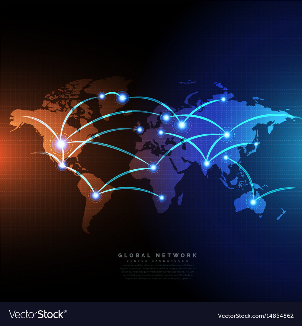 Digital world map linked by lines connections vector image gumiabroncs Gallery